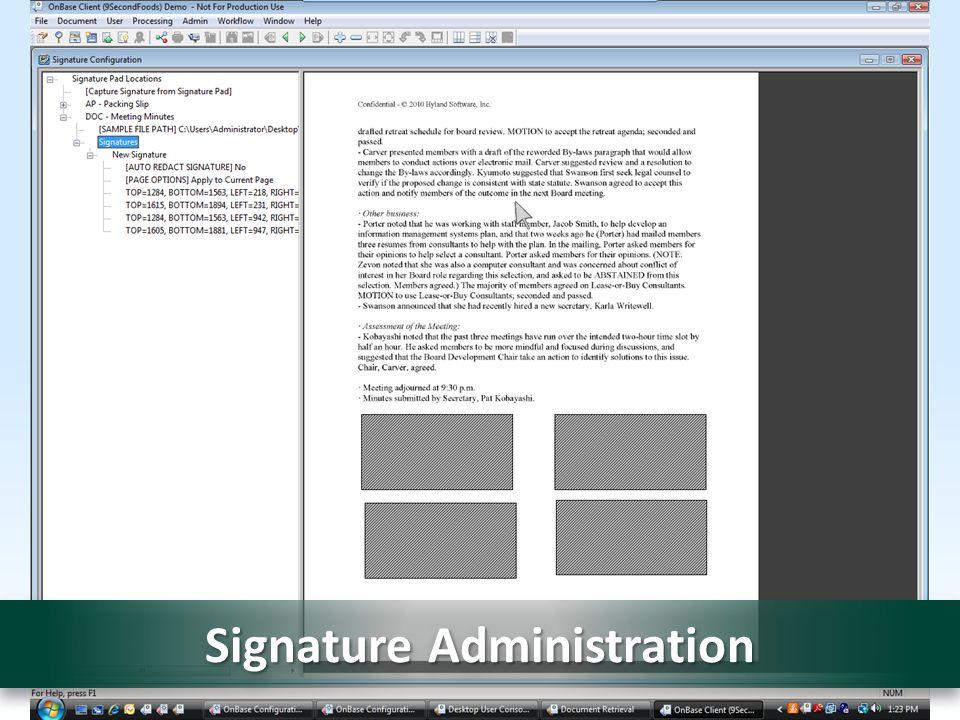 Signature Administration