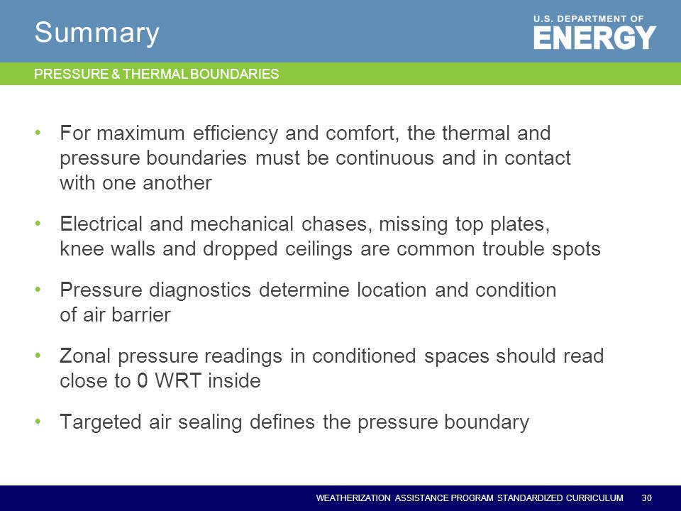 WEATHERIZATION ASSISTANCE PROGRAM STANDARDIZED CURRICULUM Summary For maximum efficiency and comfort, the thermal and pressure boundaries must be cont