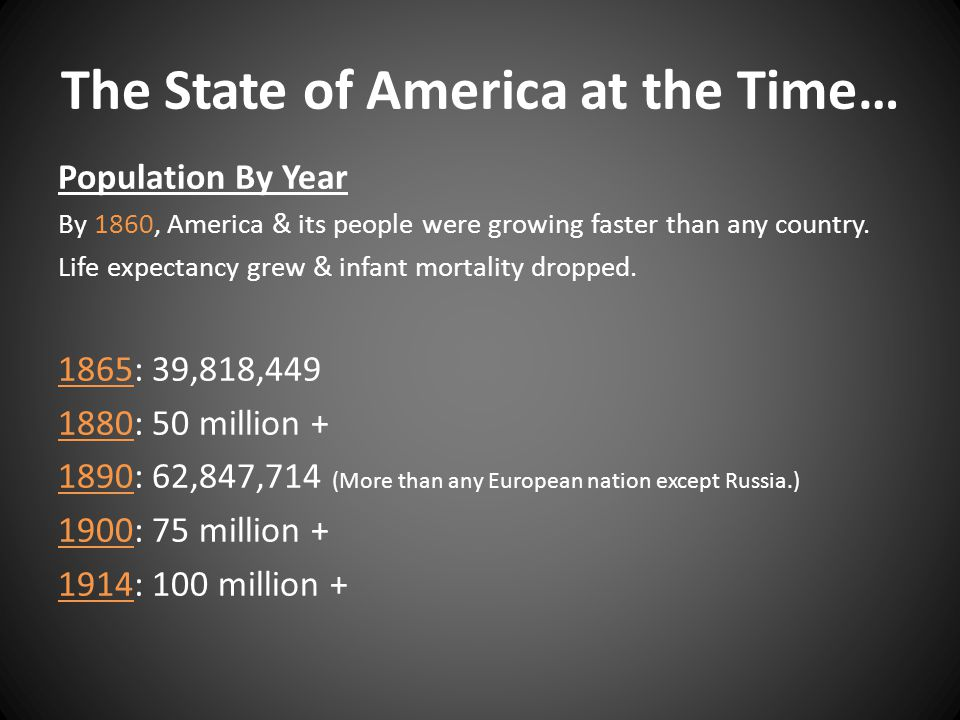 The State of America at the Time… Population By Year By 1860, America & its people were growing faster than any country. Life expectancy grew & infant