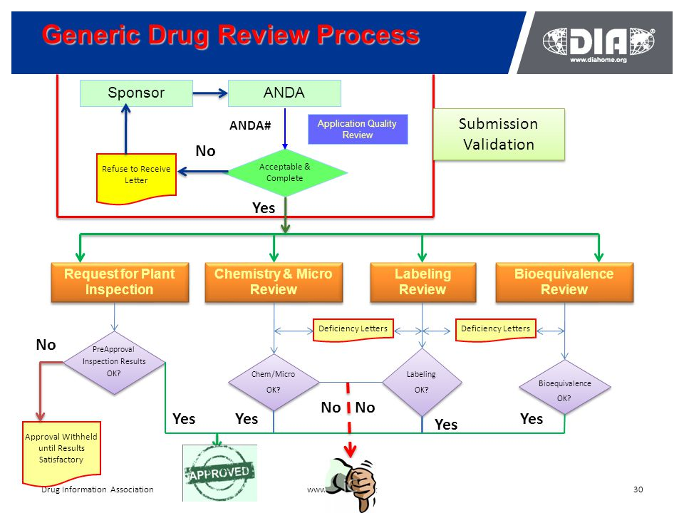 Generic Drug Review Process 30www.diahome.orgDrug Information Association SponsorANDA Application Quality Review Acceptable & Complete Refuse to Receive Letter No Request for Plant Inspection Chemistry & Micro Review Labeling Review Bioequivalence Review Yes ANDA# PreApproval Inspection Results OK.