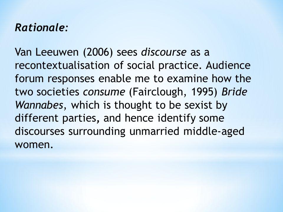 Rationale: Van Leeuwen (2006) sees discourse as a recontextualisation of social practice.