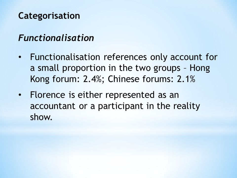 Categorisation Functionalisation Functionalisation references only account for a small proportion in the two groups – Hong Kong forum: 2.4%; Chinese forums: 2.1% Florence is either represented as an accountant or a participant in the reality show.