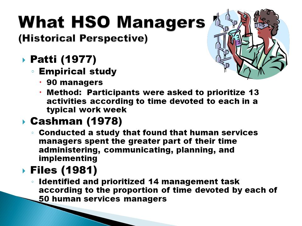  Patti (1977) ◦ Empirical study  90 managers  Method: Participants were asked to prioritize 13 activities according to time devoted to each in a typical work week  Cashman (1978) ◦ Conducted a study that found that human services managers spent the greater part of their time administering, communicating, planning, and implementing  Files ( 1981 ) ◦ Identified and prioritized 14 management task according to the proportion of time devoted by each of 50 human services managers