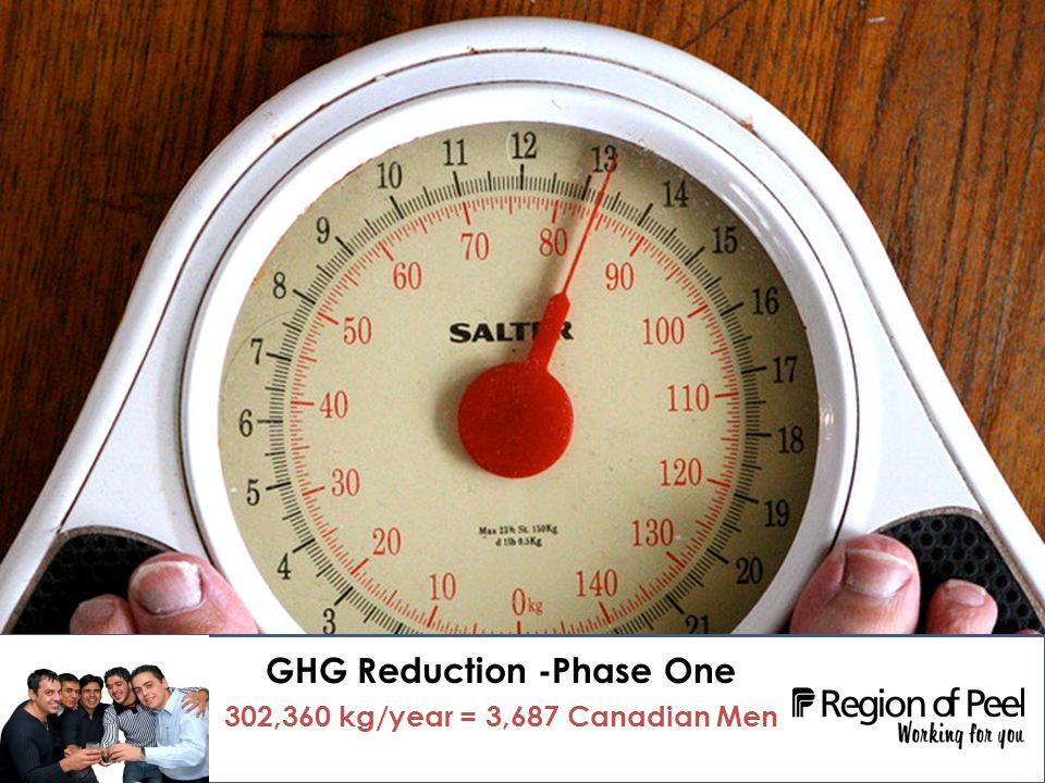Employer Individualized Marketing Campaign - Region of Peel 11 GHG Reduction -Phase One 302,360 kg/year = 3,687 Canadian Men