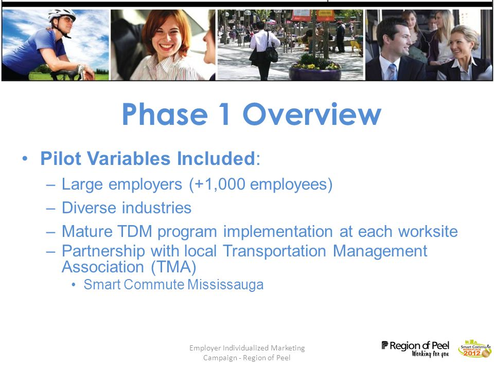 Employer Individualized Marketing Campaign - Region of Peel 7 Phase 1 Overview Pilot Variables Included: –Large employers (+1,000 employees) –Diverse industries –Mature TDM program implementation at each worksite –Partnership with local Transportation Management Association (TMA) Smart Commute Mississauga