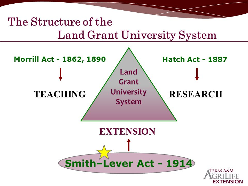 The Structure of the Land Grant University System TEACHINGRESEARCH EXTENSION Morrill Act - 1862, 1890 Hatch Act - 1887 Smith–Lever Act - 1914 Land Gra