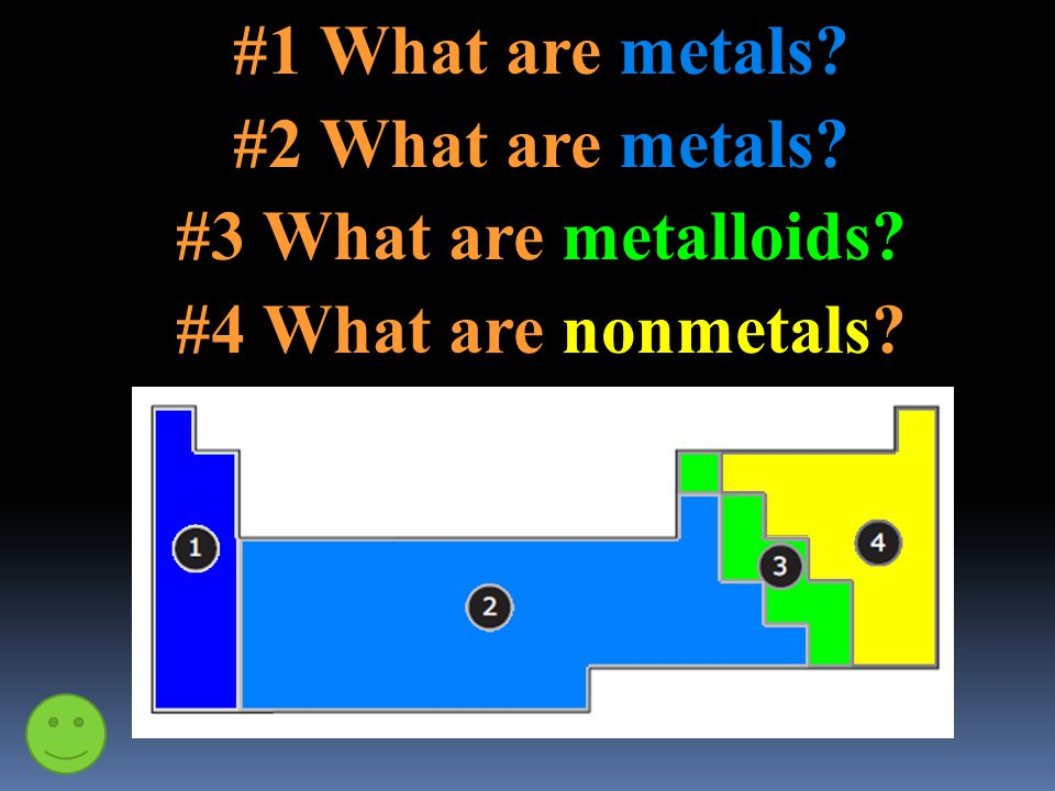 #1 What are metals? #2 What are metals? #3 What are metalloids? #4 What are nonmetals?