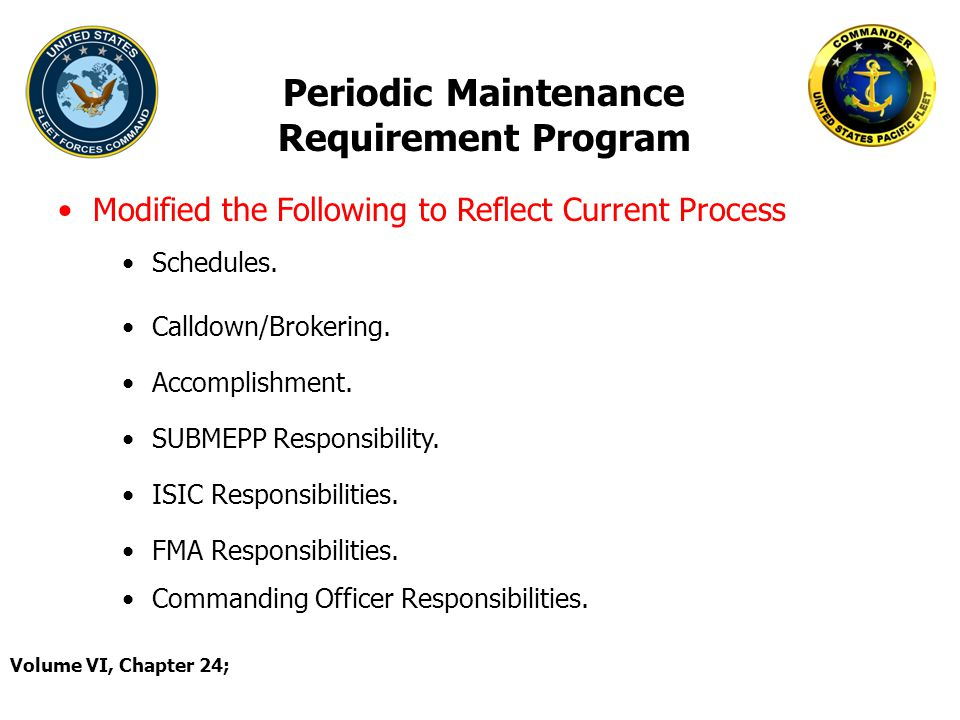 Periodic Maintenance Requirement Program Modified the Following to Reflect Current Process Volume VI, Chapter 24; Schedules. Calldown/Brokering. Accom