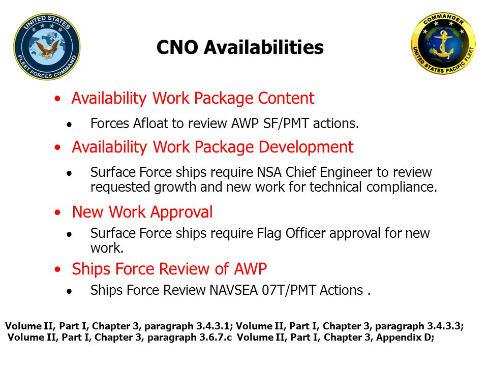 CNO Availabilities  Forces Afloat to review AWP SF/PMT actions. Volume II, Part I, Chapter 3, paragraph 3.4.3.1; Volume II, Part I, Chapter 3, paragr