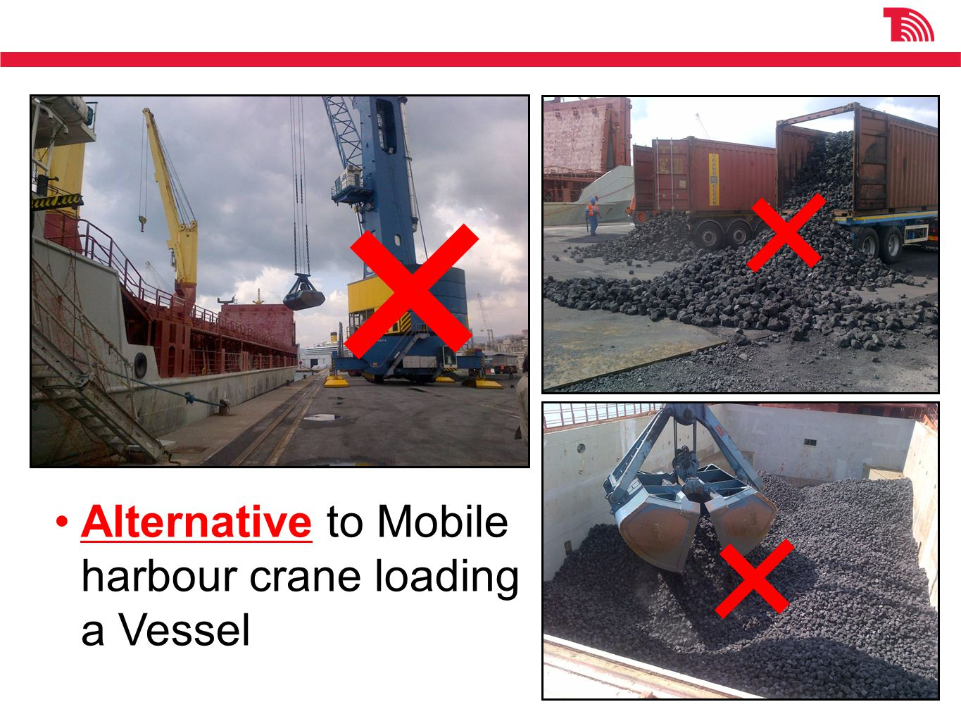 Alternative to Mobile harbour crane loading a Vessel