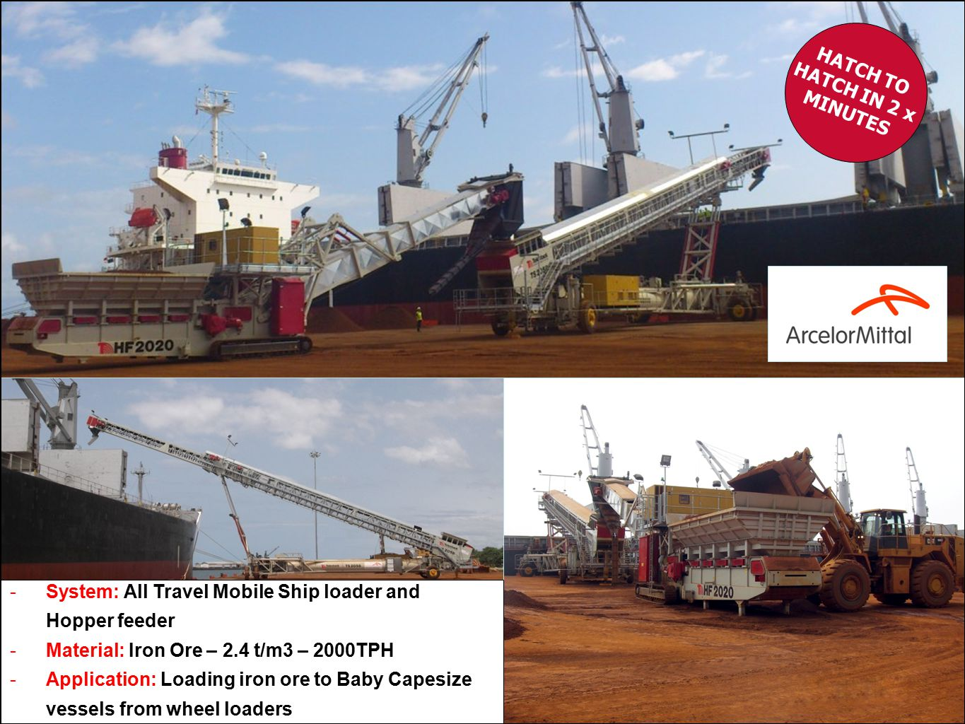 -System: All Travel Mobile Ship loader and Hopper feeder -Material: Iron Ore – 2.4 t/m3 – 2000TPH -Application: Loading iron ore to Baby Capesize vessels from wheel loaders HATCH TO HATCH IN 2 x MINUTES
