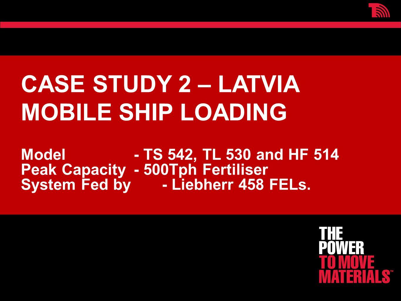 CASE STUDY 2 – LATVIA MOBILE SHIP LOADING Model - TS 542, TL 530 and HF 514 Peak Capacity - 500Tph Fertiliser System Fed by - Liebherr 458 FELs.