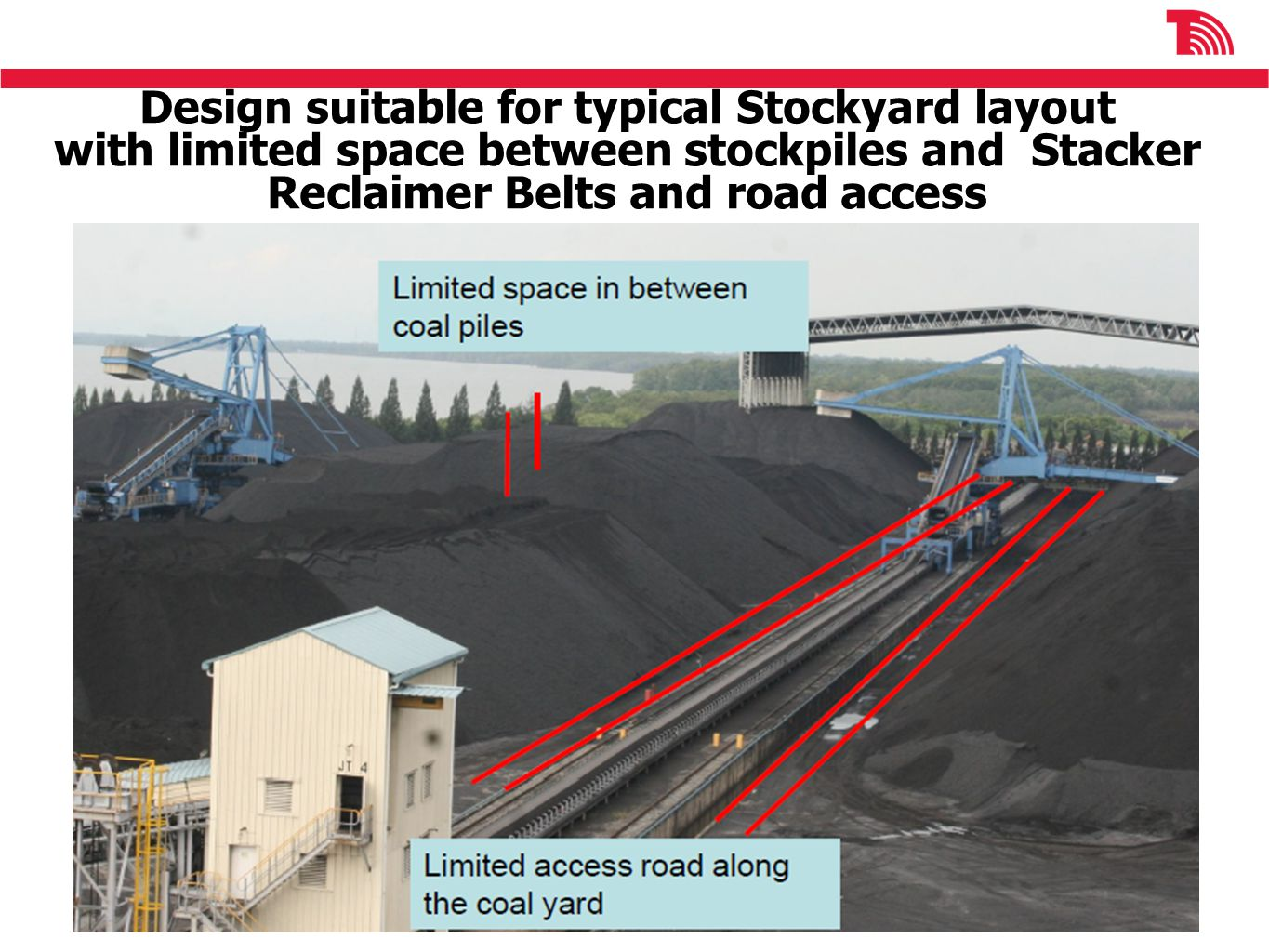 Design suitable for typical Stockyard layout with limited space between stockpiles and Stacker Reclaimer Belts and road access