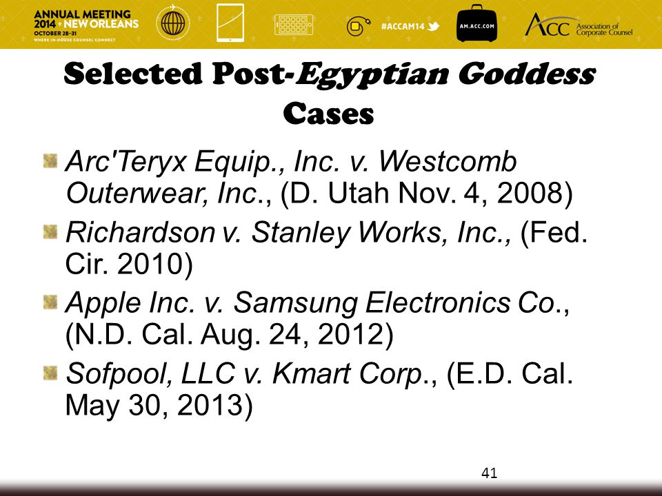 Selected Post-Egyptian Goddess Cases Arc Teryx Equip., Inc.