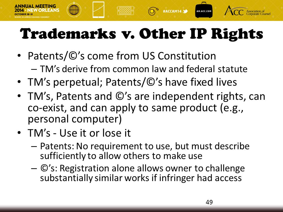Trademarks v. Other IP Rights Patents/©'s come from US Constitution – TM's derive from common law and federal statute TM's perpetual; Patents/©'s have