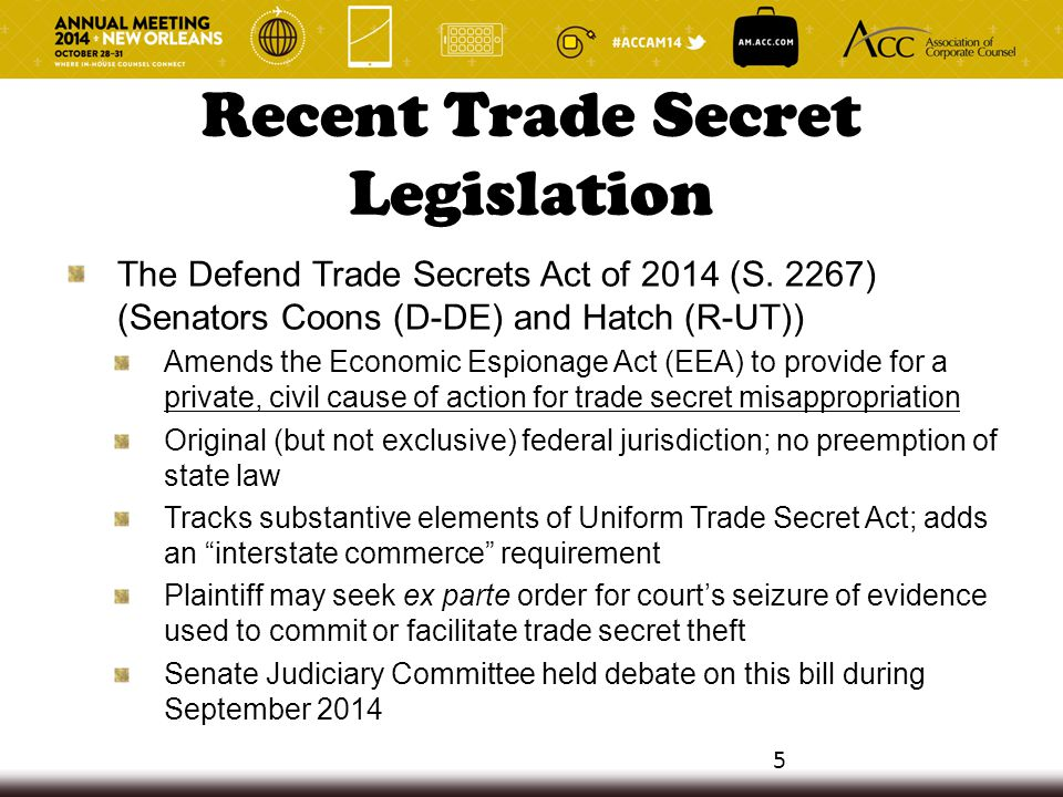 The Defend Trade Secrets Act of 2014 (S. 2267) (Senators Coons (D-DE) and Hatch (R-UT)) Amends the Economic Espionage Act (EEA) to provide for a priva