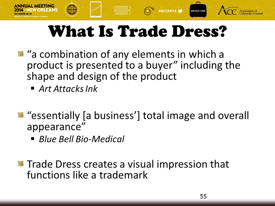 "What Is Trade Dress? ""a combination of any elements in which a product is presented to a buyer"" including the shape and design of the product  Art At"