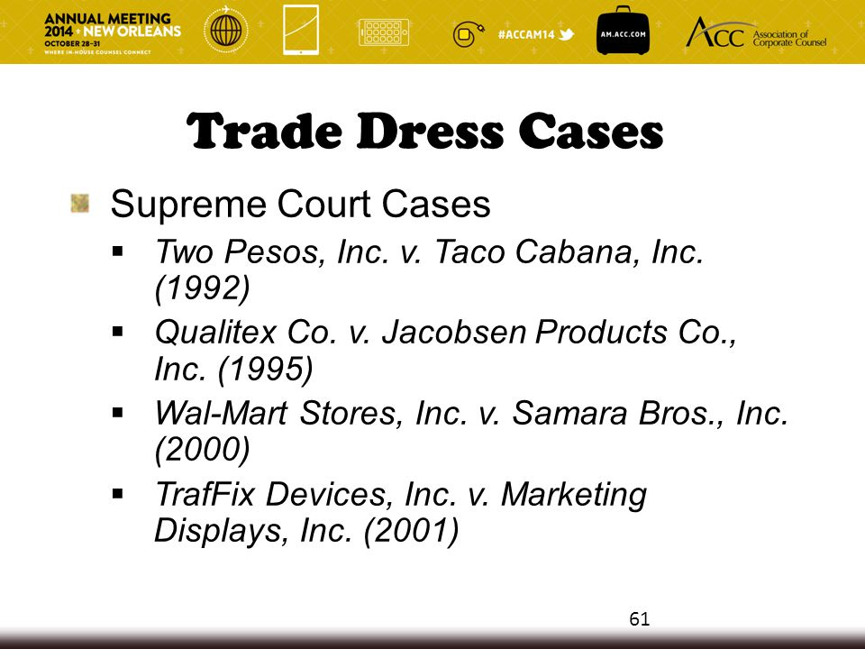 Trade Dress Cases Supreme Court Cases  Two Pesos, Inc. v. Taco Cabana, Inc. (1992)  Qualitex Co. v. Jacobsen Products Co., Inc. (1995)  Wal-Mart St