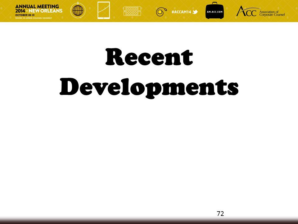 Recent Developments 72