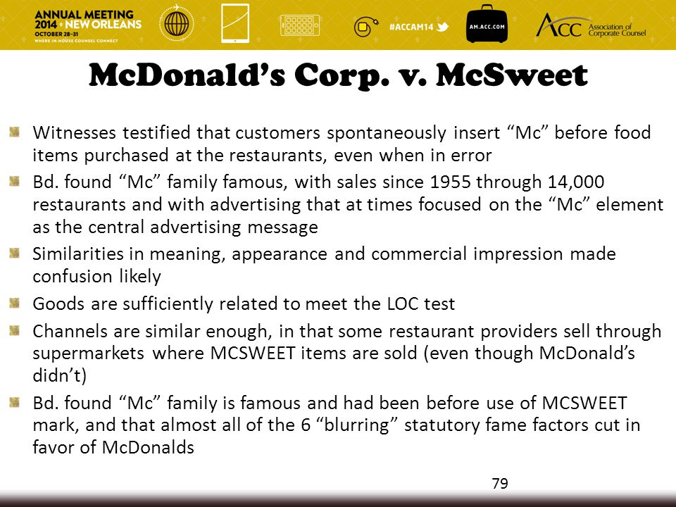 "McDonald's Corp. v. McSweet Witnesses testified that customers spontaneously insert ""Mc"" before food items purchased at the restaurants, even when in"