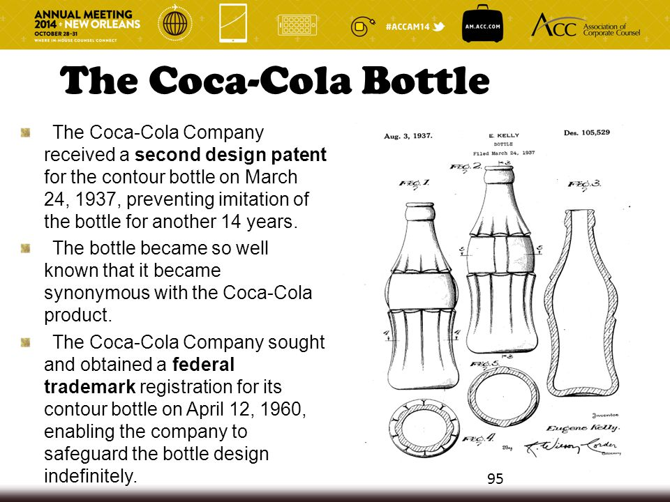 The Coca-Cola Bottle The Coca-Cola Company received a second design patent for the contour bottle on March 24, 1937, preventing imitation of the bottl