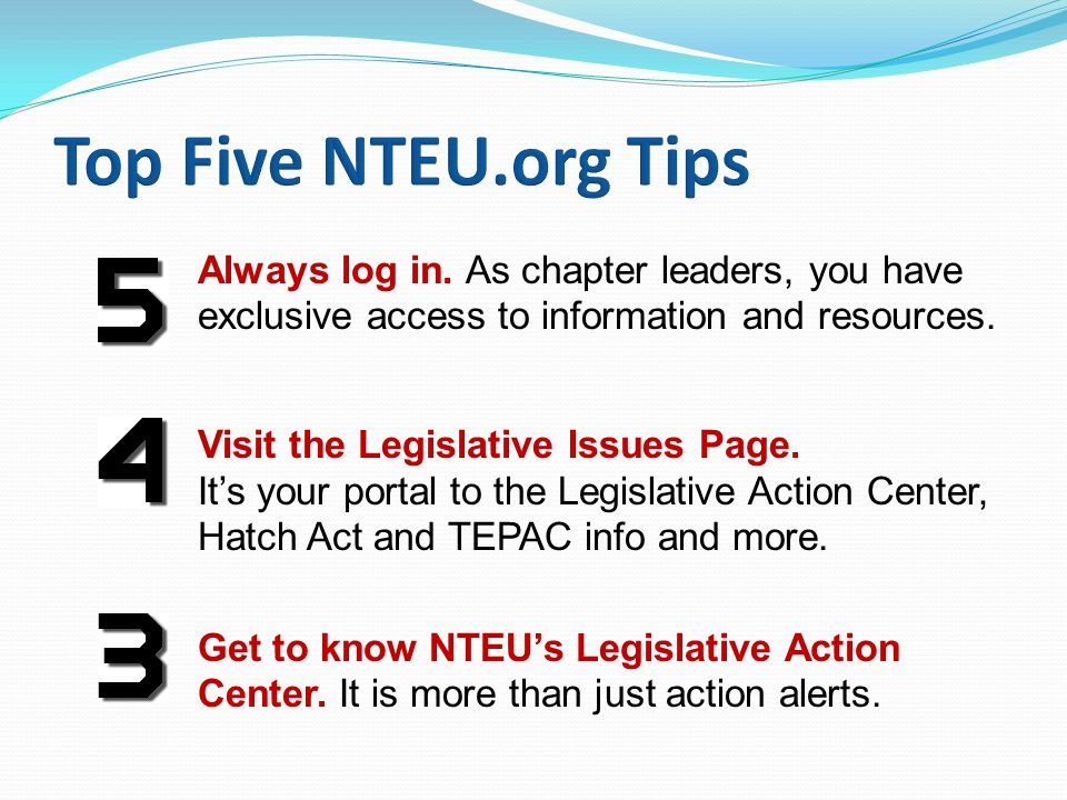 Always log in. As chapter leaders, you have exclusive access to information and resources.