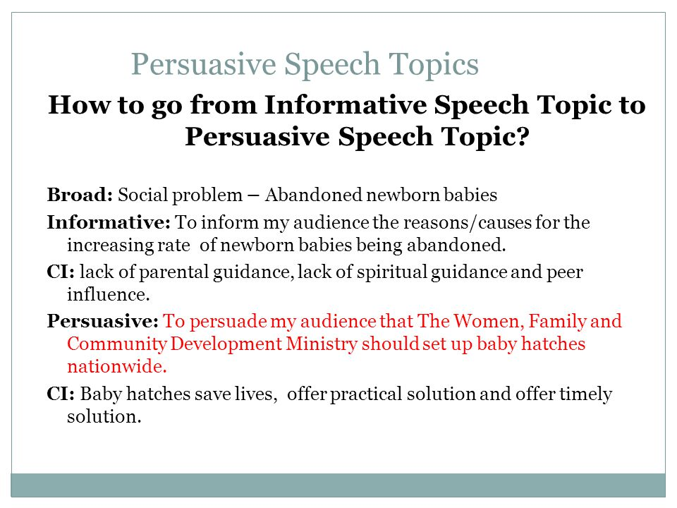 persuasive speech topics about family