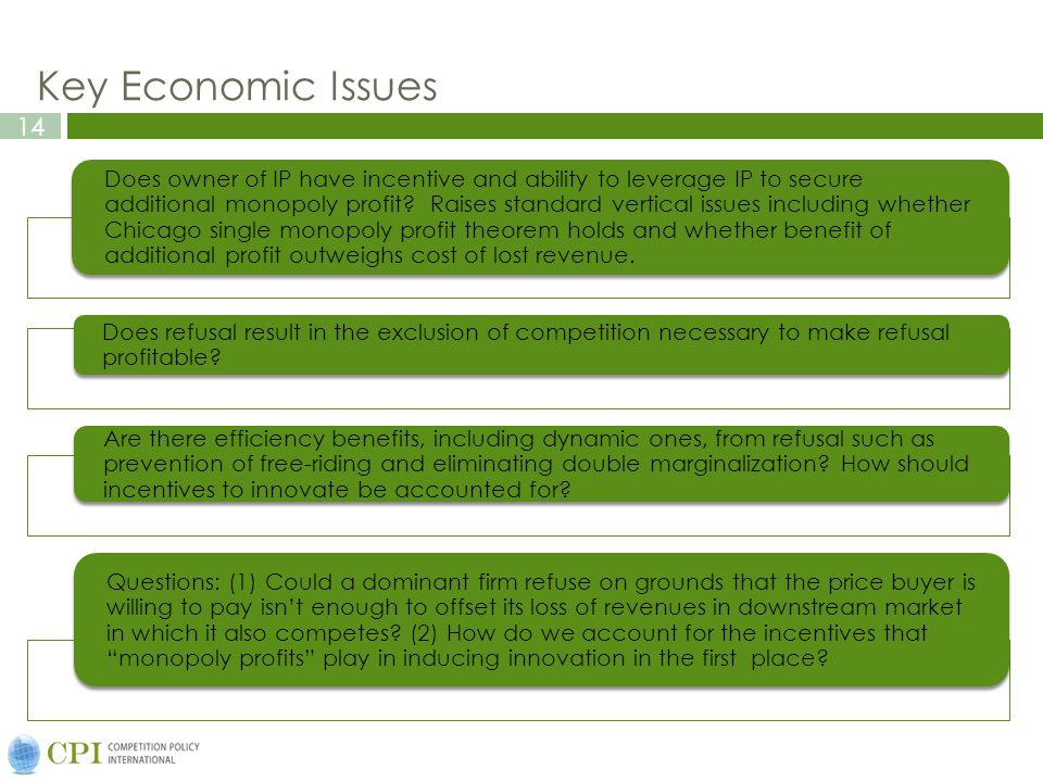 14 Key Economic Issues Does owner of IP have incentive and ability to leverage IP to secure additional monopoly profit.