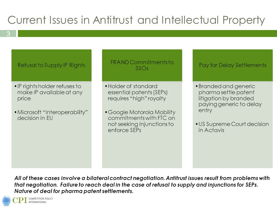 3 Current Issues in Antitrust and Intellectual Property Refusal to Supply IP Rights IP rights holder refuses to make IP available at any price Microsoft Interoperability decision in EU FRAND Commitments to SSOs Holder of standard essential patents (SEPs) requires high royalty Google Motorola Mobility commitments with FTC on not seeking injunctions to enforce SEPs Pay for Delay Settlements Branded and generic pharma settle patent litigation by branded paying generic to delay entry US Supreme Court decision in Actavis All of these cases involve a bilateral contract negotiation.