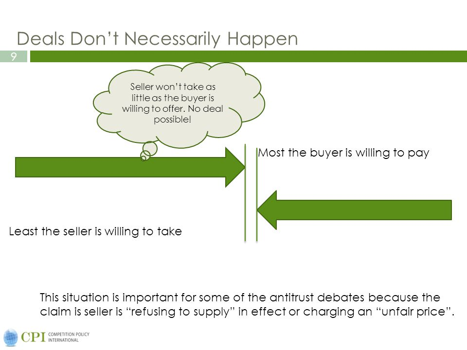 9 Deals Don't Necessarily Happen Most the buyer is willing to pay Least the seller is willing to take Seller won't take as little as the buyer is willing to offer.