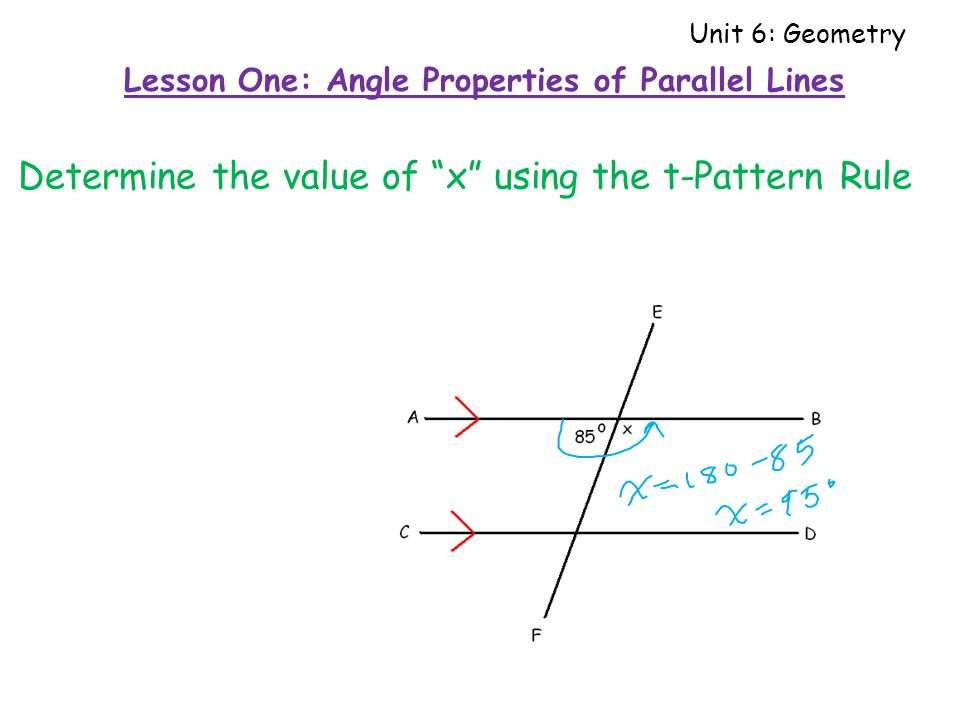 Determine the value of x using the t-Pattern Rule Lesson One: Angle Properties of Parallel Lines Unit 6: Geometry