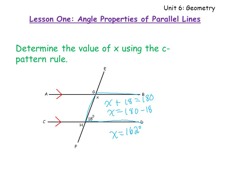 Determine the value of x using the c- pattern rule.