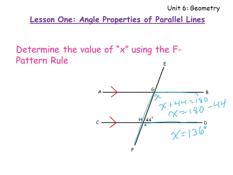 Determine the value of x using the F- Pattern Rule Lesson One: Angle Properties of Parallel Lines Unit 6: Geometry