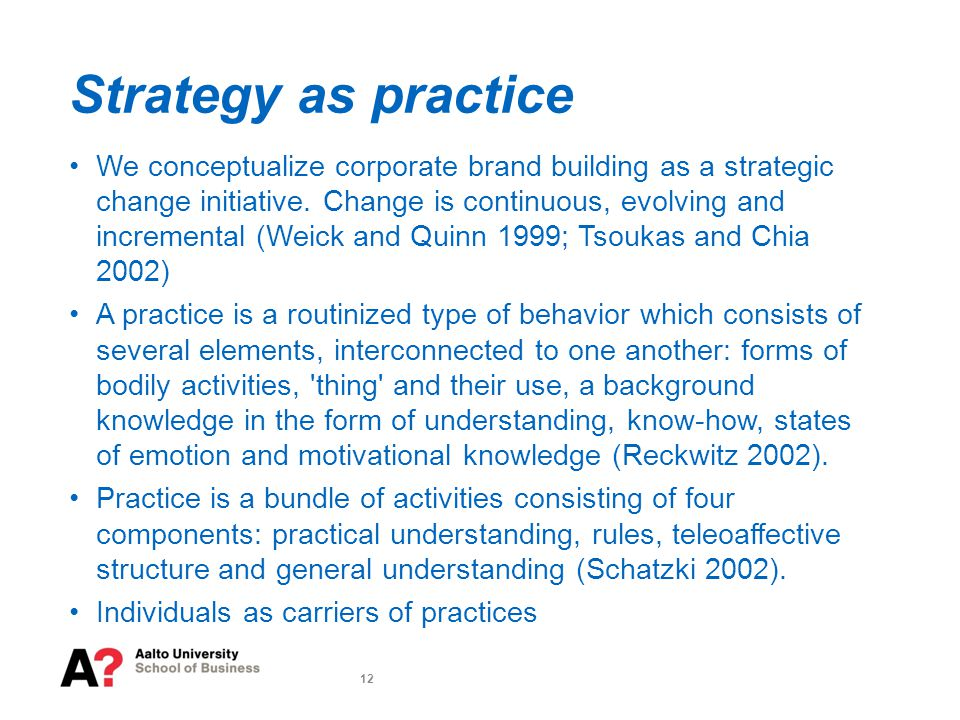 12 Strategy as practice We conceptualize corporate brand building as a strategic change initiative.