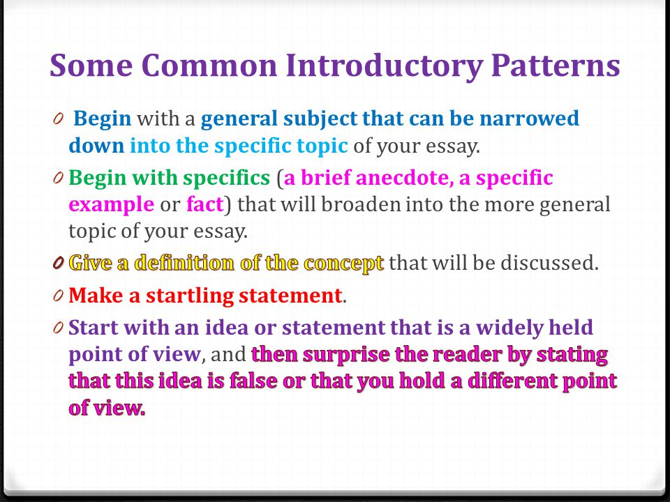 Introductory Paragraphs in Essay Exams 0 Do not give any supporting information in your introductory paragraph.