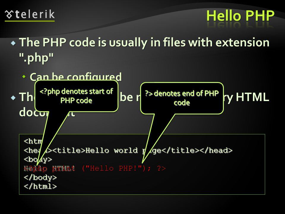  The PHP code is usually in files with extension .php  Can be configured  The PHP code can be nested in the very HTML document <html> Hello world page Hello world page <body> Hello HTML.