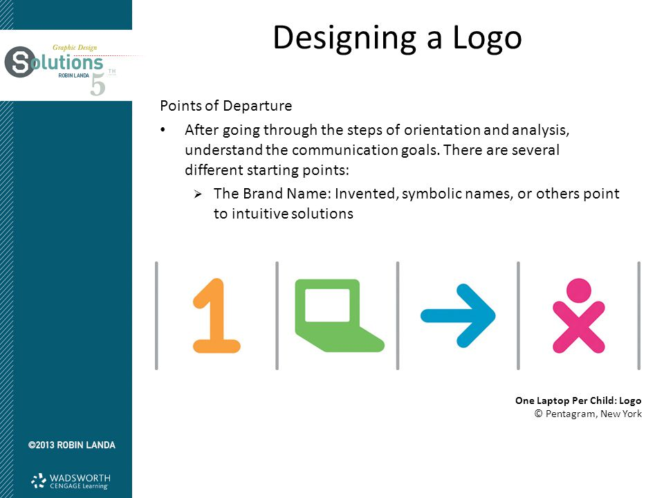 Designing a Logo Points of Departure After going through the steps of orientation and analysis, understand the communication goals.