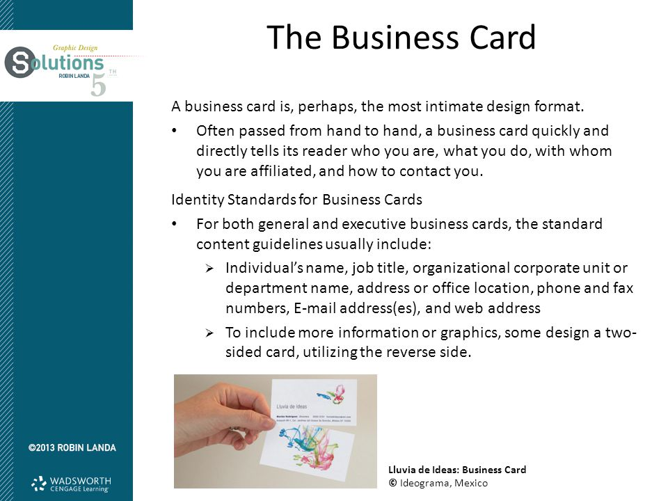 The Business Card A business card is, perhaps, the most intimate design format.