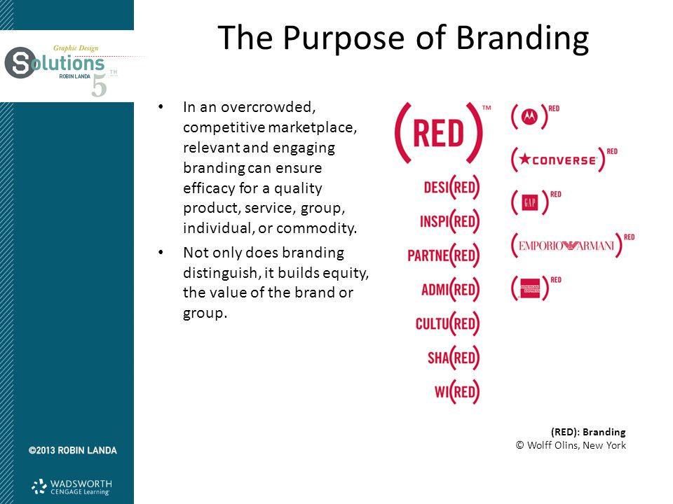 The Purpose of Branding In an overcrowded, competitive marketplace, relevant and engaging branding can ensure efficacy for a quality product, service, group, individual, or commodity.