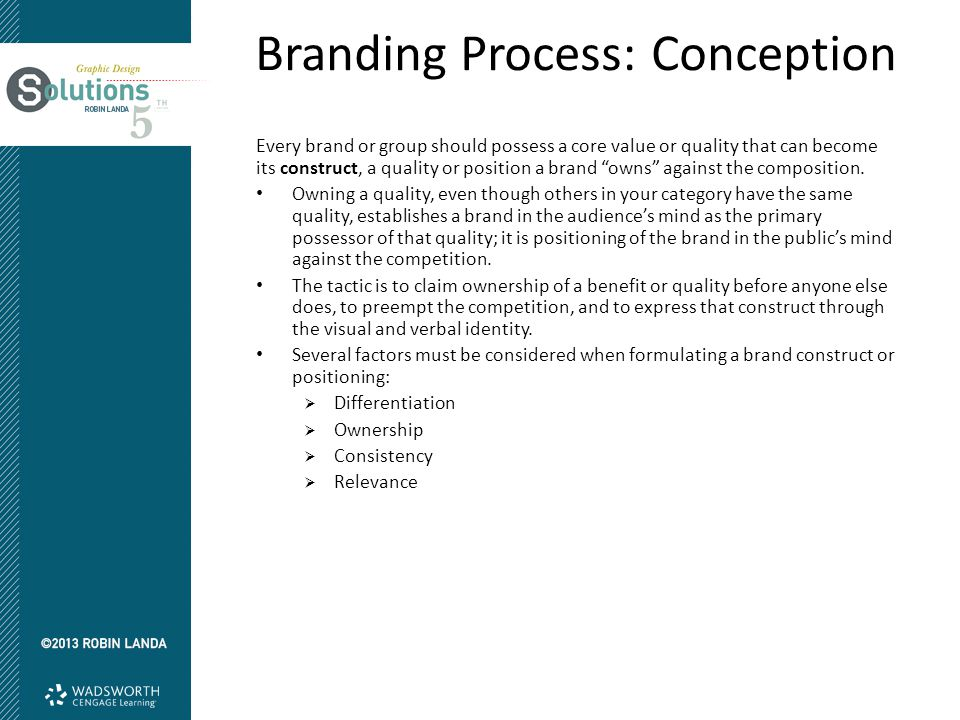 Branding Process: Conception Every brand or group should possess a core value or quality that can become its construct, a quality or position a brand owns against the composition.