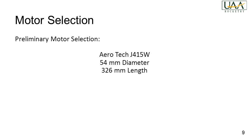 Motor Selection Preliminary Motor Selection: Aero Tech J415W 54 mm Diameter 326 mm Length 9