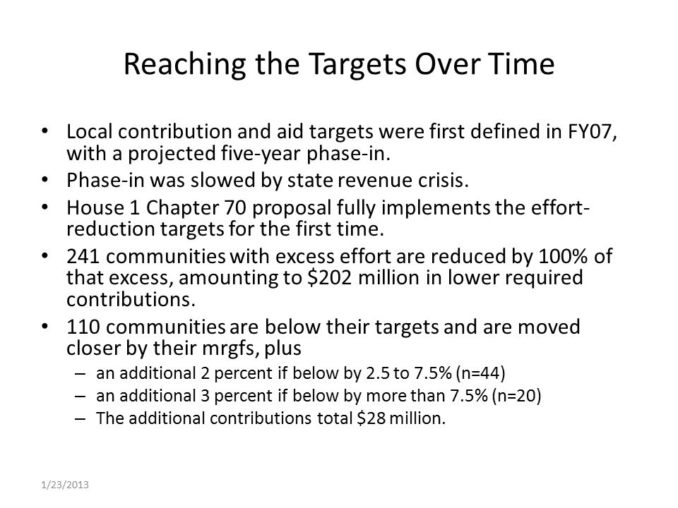 Reaching the Targets Over Time Local contribution and aid targets were first defined in FY07, with a projected five-year phase-in.