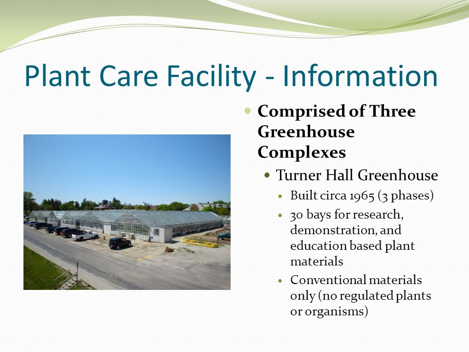 Plant Care Facility - Information Comprised of Three Greenhouse Complexes Turner Hall Greenhouse Built circa 1965 (3 phases) 30 bays for research, demonstration, and education based plant materials Conventional materials only (no regulated plants or organisms)