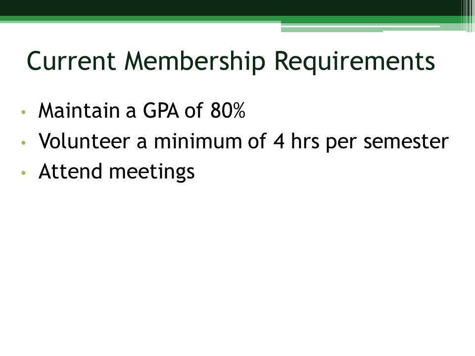 Current Membership Requirements Maintain a GPA of 80% Volunteer a minimum of 4 hrs per semester Attend meetings