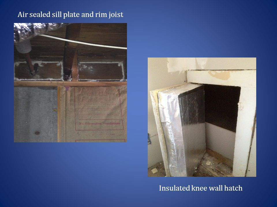 Air sealed sill plate and rim joist Insulated knee wall hatch