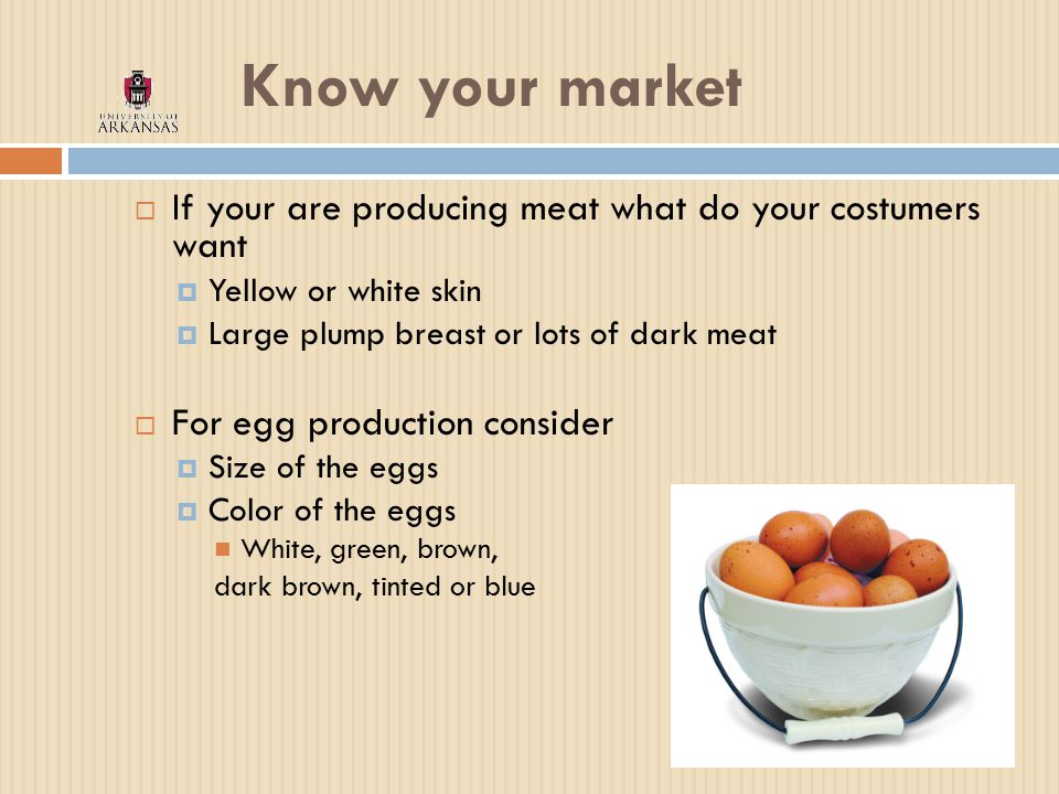 Know your market  If your are producing meat what do your costumers want  Yellow or white skin  Large plump breast or lots of dark meat  For egg production consider  Size of the eggs  Color of the eggs White, green, brown, dark brown, tinted or blue