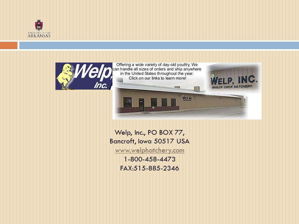 Welp, Inc., PO BOX 77, Bancroft, Iowa 50517 USA www.welphatchery.com www.welphatchery.com 1-800-458-4473 FAX:515-885-2346