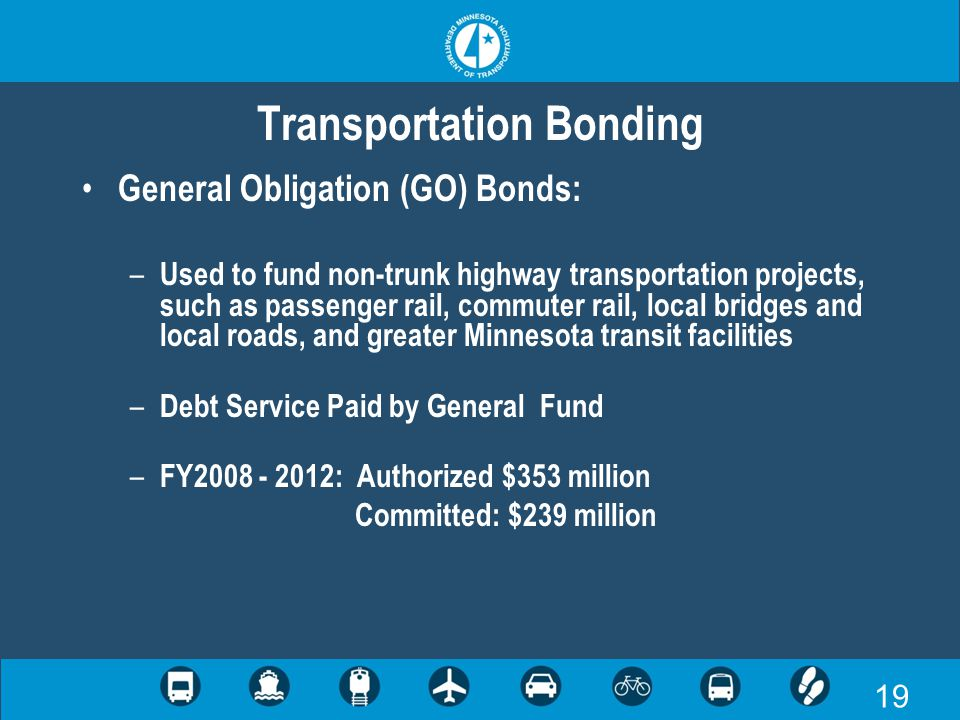 19 Transportation Bonding General Obligation (GO) Bonds: – Used to fund non-trunk highway transportation projects, such as passenger rail, commuter rail, local bridges and local roads, and greater Minnesota transit facilities – Debt Service Paid by General Fund – FY2008 - 2012: Authorized $353 million Committed: $239 million