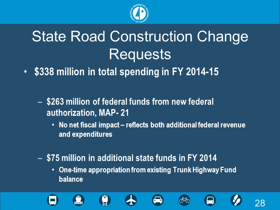 28 State Road Construction Change Requests $338 million in total spending in FY 2014-15 – $263 million of federal funds from new federal authorization, MAP- 21 No net fiscal impact – reflects both additional federal revenue and expenditures – $75 million in additional state funds in FY 2014 One-time appropriation from existing Trunk Highway Fund balance