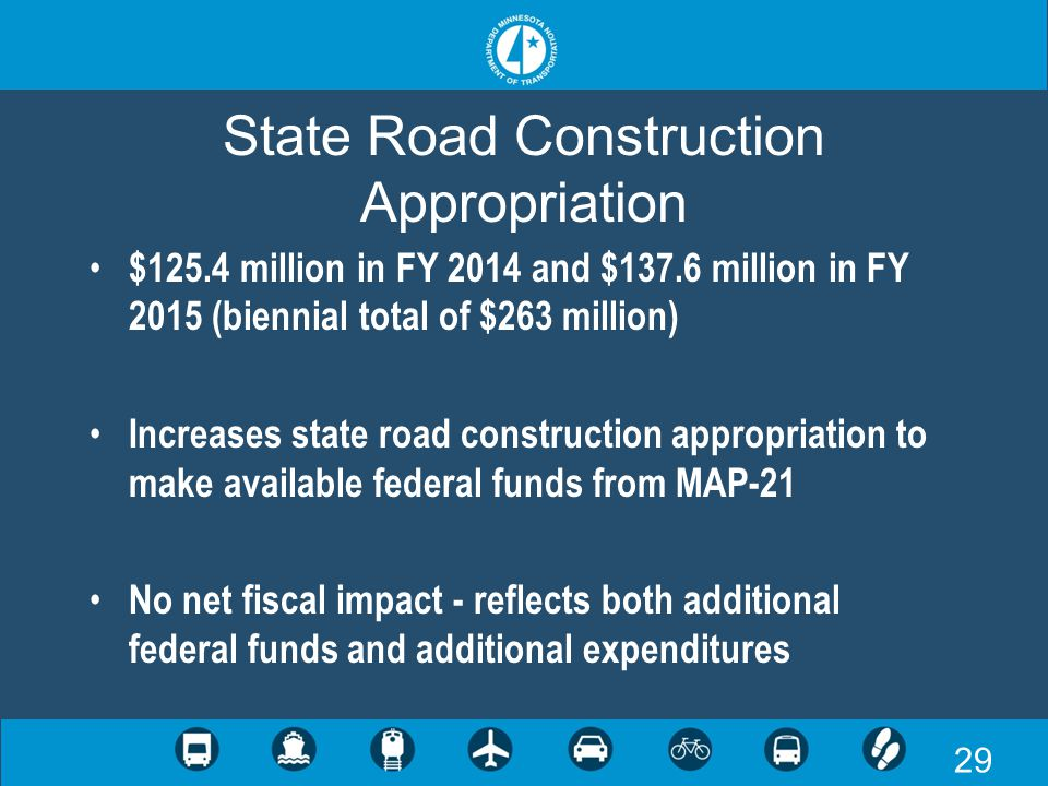 29 State Road Construction Appropriation $125.4 million in FY 2014 and $137.6 million in FY 2015 (biennial total of $263 million) Increases state road